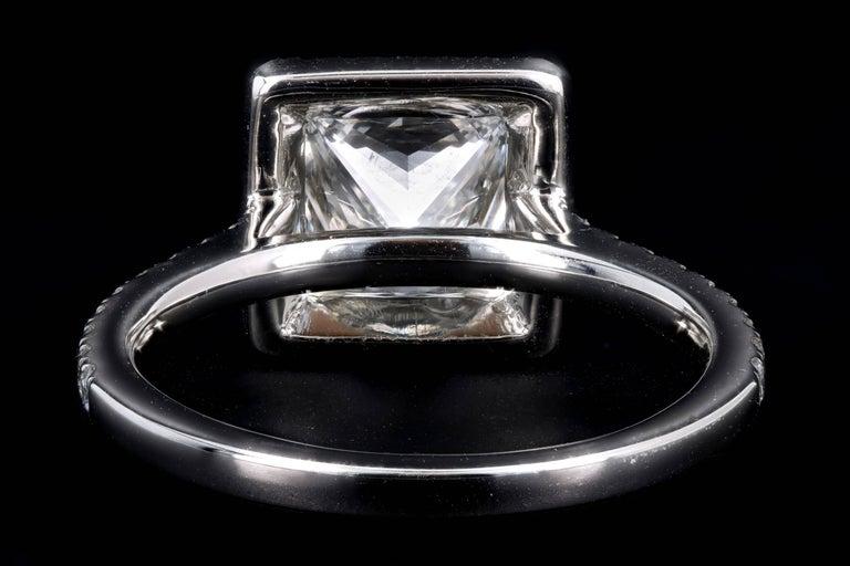 Platinum 1.80 Carat Princess Cut Diamond Halo Engagement Ring For Sale 4