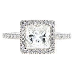 Platinum 1.80 Carat Princess Cut Diamond Halo Engagement Ring