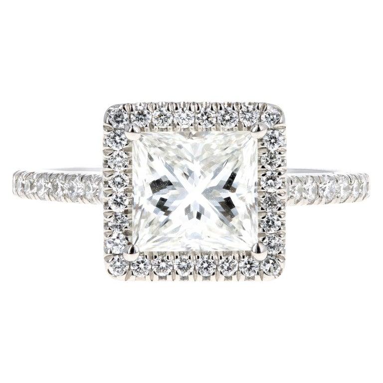 Platinum 1.80 Carat Princess Cut Diamond Halo Engagement Ring For Sale