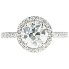 Platinum 1.85 Carat Old European Cut Diamond Engagement Ring