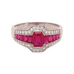 Platinum 1.86 Carat Genuine Natural Ruby and Diamond Ring '#J4870'