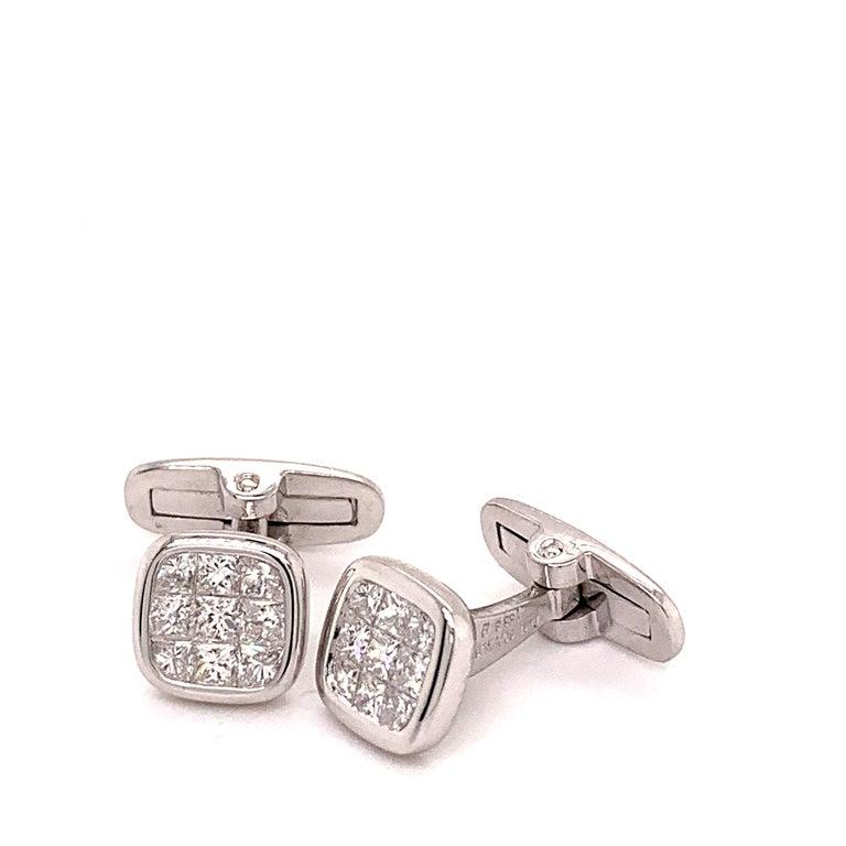 French Cut Platinum 1.88 Carat All Diamond Set Cufflinks For Sale