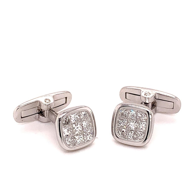 Platinum 1.88 Carat All Diamond Set Cufflinks In New Condition For Sale In New York, NY
