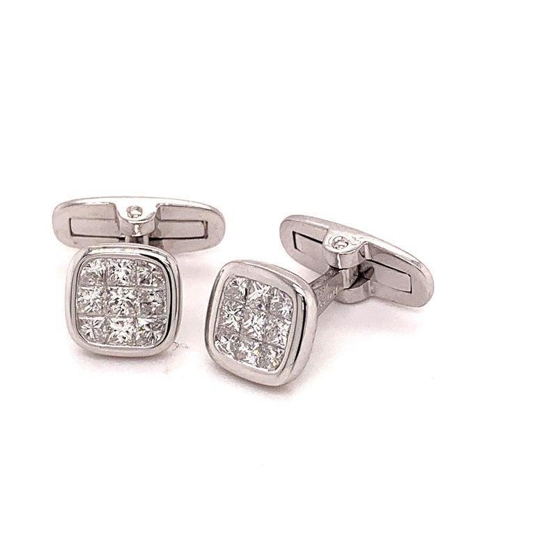 Men's Platinum 1.88 Carat All Diamond Set Cufflinks For Sale