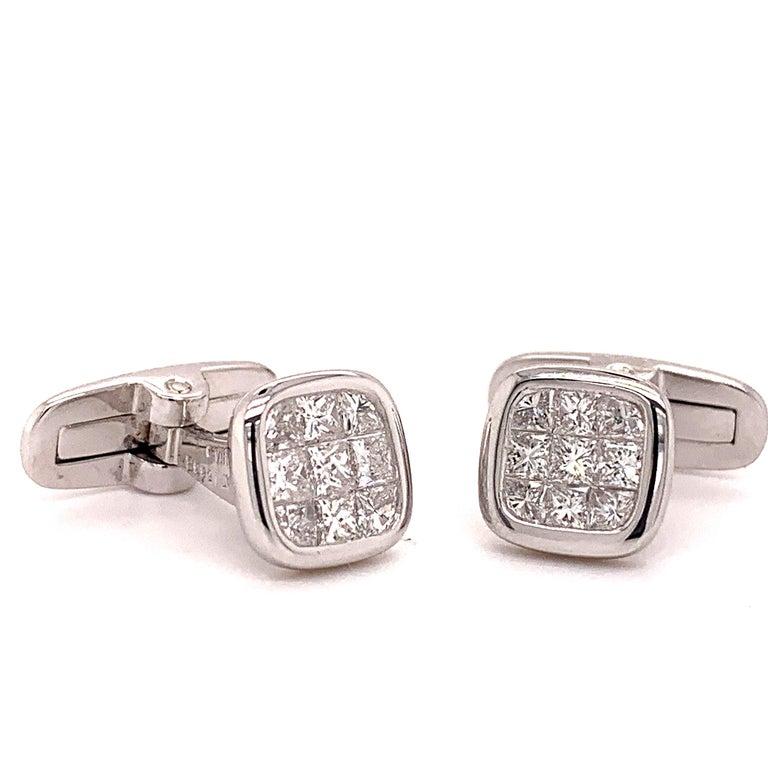 Platinum 1.88 Carat All Diamond Set Cufflinks For Sale 1