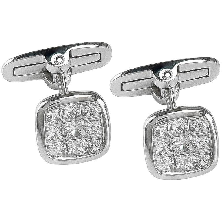 Platinum 1.88 Carat All Diamond Set Cufflinks For Sale