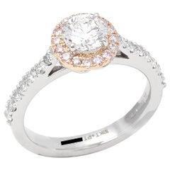 Platinum and 18 Carat Rose Gold Round Brilliant Cut Diamond Halo Ring
