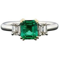 Platinum 18k Gold 1.04 Carat GIA Clean Colombian Emerald & Diamond 3-Stone Ring