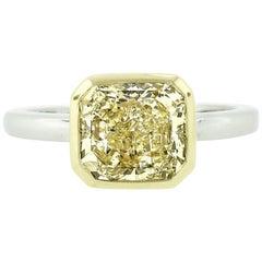 Platinum & 18k Gold 2.55 Carat GIA Fancy Yellow Diamond Solitaire Bezel Set Ring