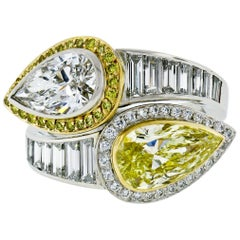 Platinum 18k Gold 6.07ctw GIA Pear Fancy Yellow Diamond Bypass Moi et Toi Ring