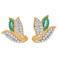 Platinum & 18K Yellow Gold 3 Carats Diamond and Green Emeralds Earrings