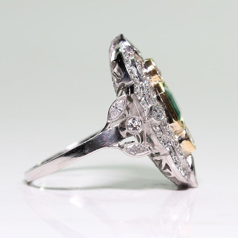 Platinum and 18 Karat Yellow Gold Art Deco Emerald and Diamond Ring In Excellent Condition For Sale In Scottsdale, AZ