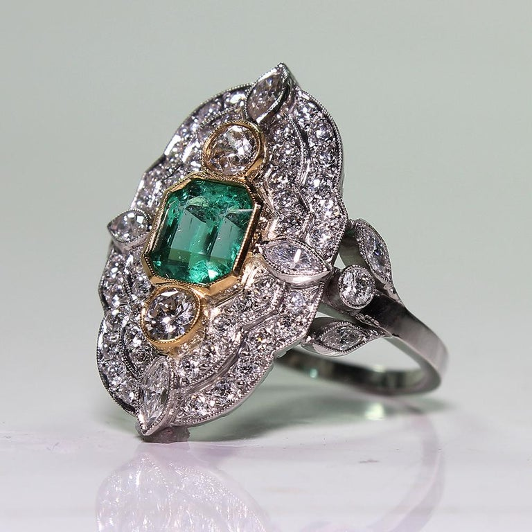 Platinum and 18 Karat Yellow Gold Art Deco Emerald and Diamond Ring For Sale 1