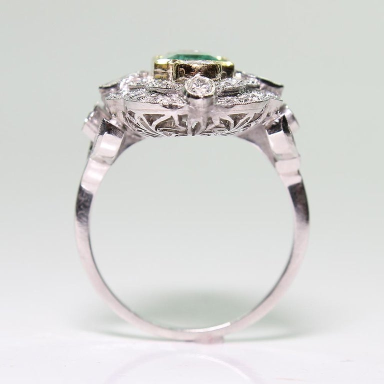 Platinum and 18 Karat Yellow Gold Art Deco Emerald and Diamond Ring For Sale 2