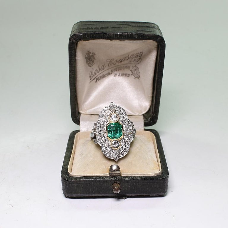 Platinum and 18 Karat Yellow Gold Art Deco Emerald and Diamond Ring For Sale 3