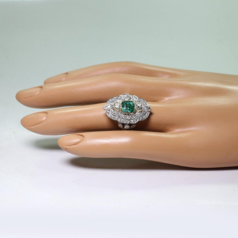 Platinum and 18 Karat Yellow Gold Art Deco Emerald and Diamond Ring For Sale 4