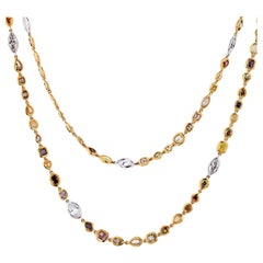 Platinum and 18 Karat Yellow Gold Color and White Diamonds by the Yard Necklace