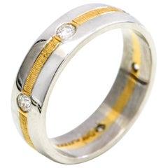 Platinum 18 Karat Yellow Gold Men's Diamond Wedding Band