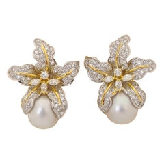 Platinum & 18KT 2.80Ct. Diamond Orchid Flower Earrings with South Sea Pearl Drop