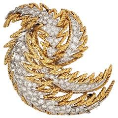 Platinum and 18 Karat Gold Diamond Feather Brooch