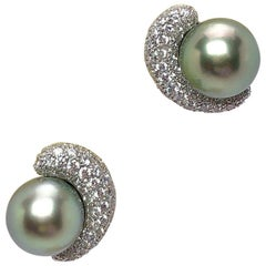 Platinum & 18KT White Gold and Diamond Earrings with Green Tahitian Pearl Center