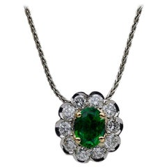 Platinum/18kyg 1.95 Carat Oval Cut Emerald and Diamond Pendant Necklace