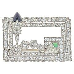 Platinum 1920's Rectangular Open Work Diamond Brooch