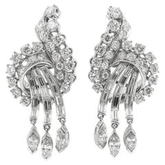 Platinum 1930s Round Marquise and Baguette Diamond Earrings