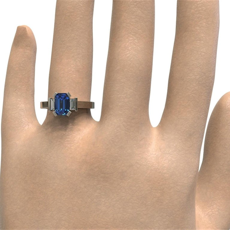 Platinum 1.96 Carat Certified Emerald Cut Ceylon Sapphire and Diamond Ring For Sale 5