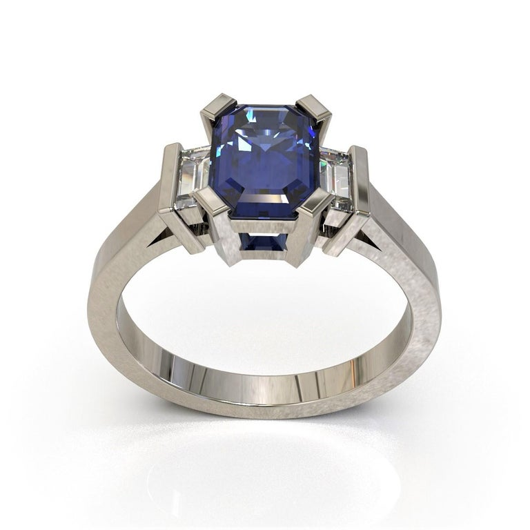 Art Deco Platinum 1.96 Carat Certified Emerald Cut Ceylon Sapphire and Diamond Ring For Sale