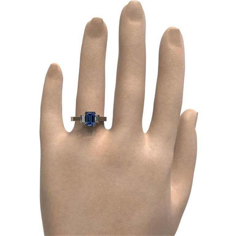 Platinum 1.96 Carat Certified Emerald Cut Ceylon Sapphire and Diamond Ring In New Condition For Sale In South Perth, AU