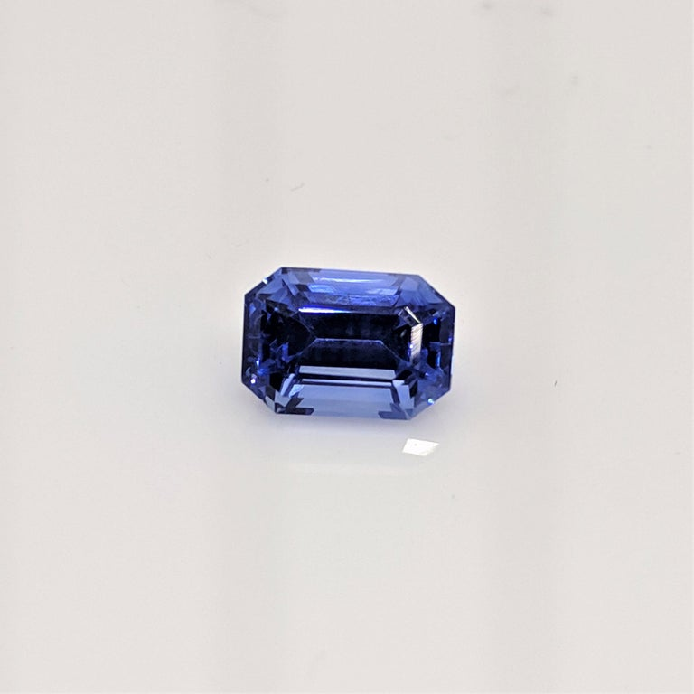 Women's Platinum 1.96 Carat Certified Emerald Cut Ceylon Sapphire and Diamond Ring For Sale