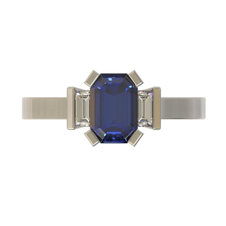 Platinum 1.96 Carat Certified Emerald Cut Ceylon Sapphire and Diamond Ring For Sale 1