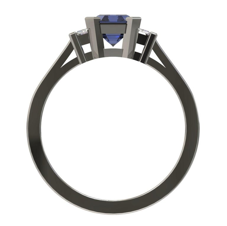 Platinum 1.96 Carat Certified Emerald Cut Ceylon Sapphire and Diamond Ring For Sale 2