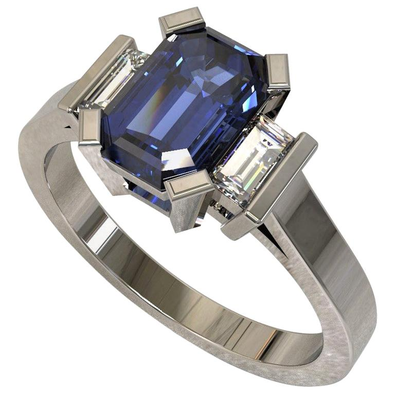Platinum 1.96 Carat Certified Emerald Cut Ceylon Sapphire and Diamond Ring For Sale