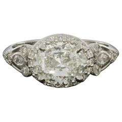 Platinum 1.96 Carat Oval Diamond Halo Engagement Ring
