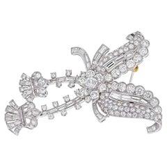 Platinum 1960's 12.50 Carat Diamond Dangling Cluster Brooch