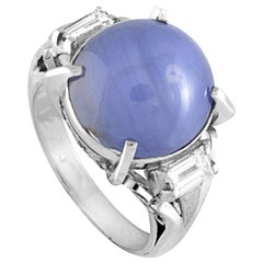 Platinum 2-Diamonds and Oval Star Sapphire Ring