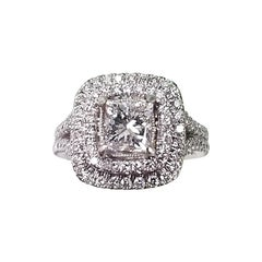 Platinum 2-Row Diamond Pavé Halo with a .72pts Princess Cut Diamond