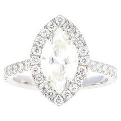 Platinum 2.00 Carat Marquise Cut Diamond Halo Engagement Ring
