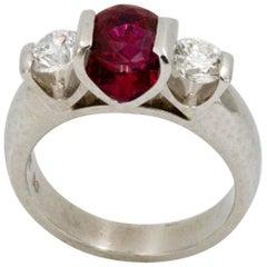 Platinum 2.00 Thailand Ruby Carat Diamond Three-Stone Ring