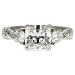 Platinum 2.01 Carat Radiant Cut Diamond Engagement Ring GIA Certified