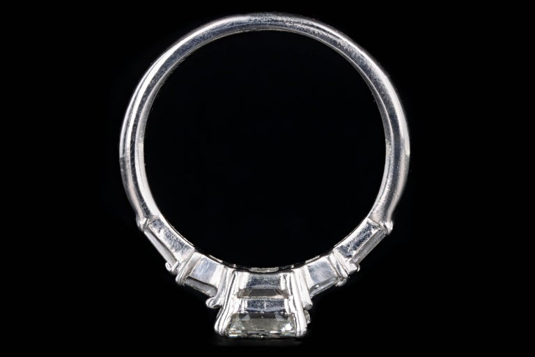 Platinum 2.03 Carat Emerald Cut Diamond Engagement Ring For Sale 2