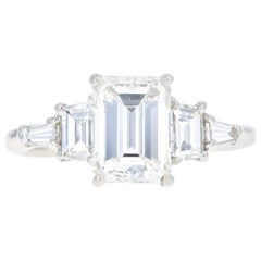 Platinum 2.03 Carat Emerald Cut Diamond Engagement Ring
