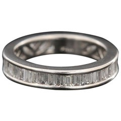 Platinum 2.04 Carat Baguette Cut Diamond Eternity Band