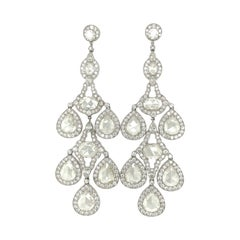 Platinum 20.54Ct. Diamond Chandelier Earrings w/ Pear and Oval Rose Cut Diamonds