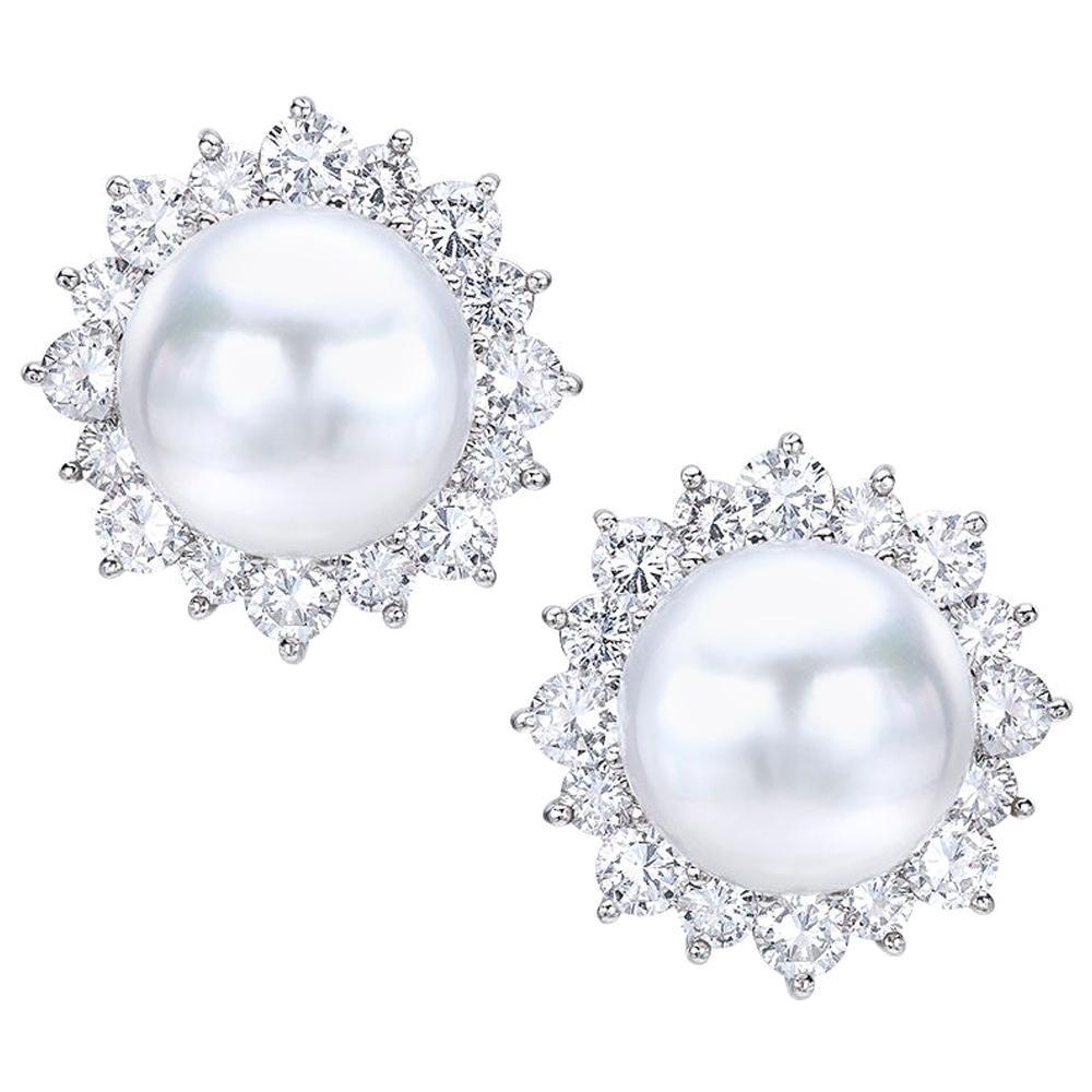 Platinum South Sea Pearl and 4.23 Carat Diamond Earrings