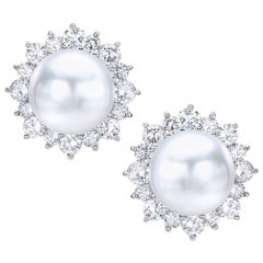 Platinum South Sea Pearl and 4.23 Carat Diamond Earrings