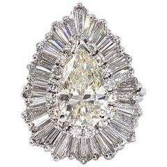 Platinum 2.07 Carat Pear Shape Diamond Ballerina Ring