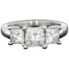 Platinum 2.07 Carat Princess Diamond Three-Stone Engagement Ring